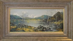 Oil Painting of Snowdon Mountains & Lakes in Wales by Modern British Artist