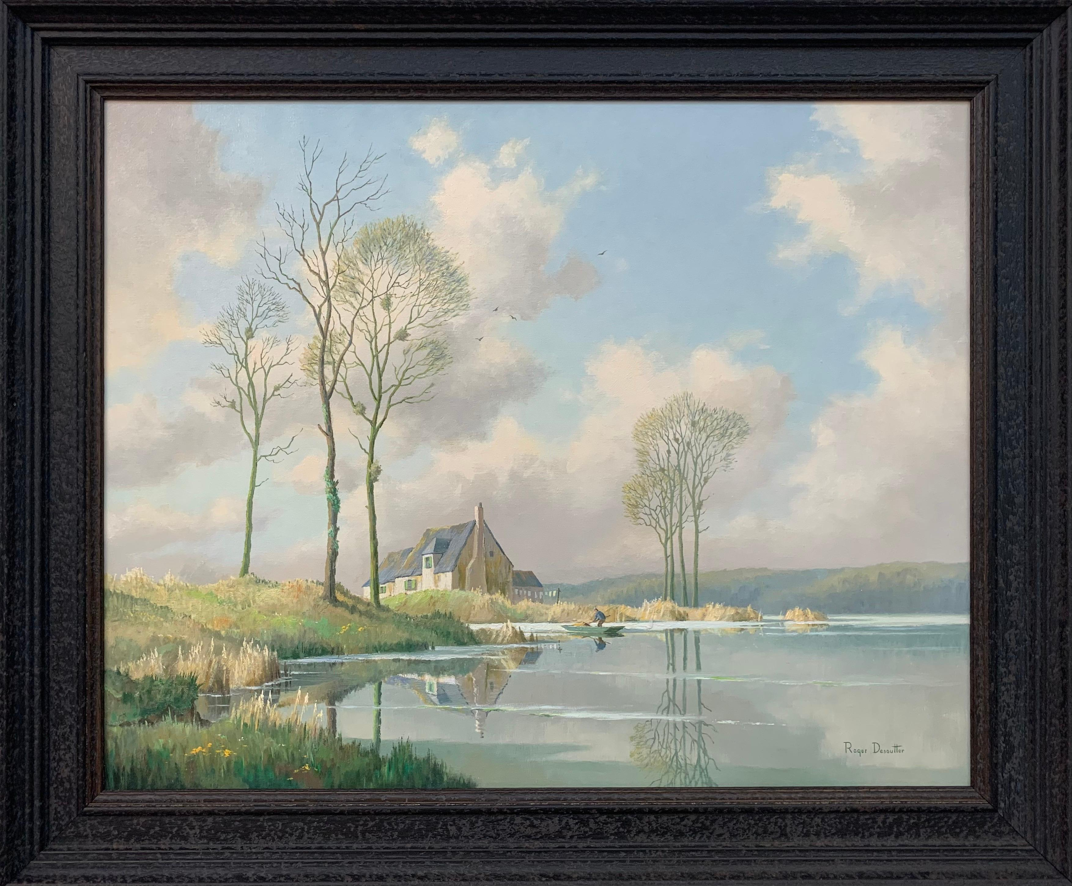 River Landscape Painting of Springtime in Picardy France with Boat and Clouds