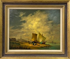 Oil Painting of Dutch River Scene with Fishing Boats & Figures by British Artist