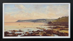 20th Century Seascape Coastline Landscape Painting with Boats by Irish Artist