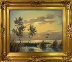 Mallard Ducks in Flight Lake Landscape Sunset by 20th Century Dutch Painter