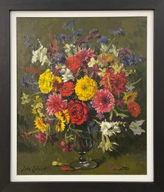 Still Life Oil Painting of Flowers in Glass Vase by 20th Century British Artist