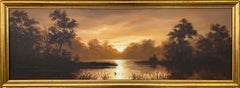 Oil Painting of River Sunset Landscape in Warm Brown Colours by British Artist