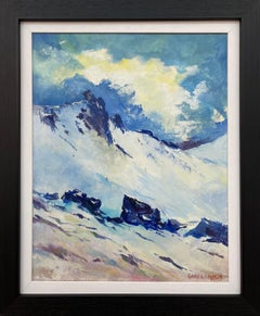 Blue & White Oil Painting of the Mourne Mountains Ireland by Modern Irish Artist