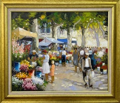 Original Oil Painting of Provence Flower Market by French Impressionist Artist