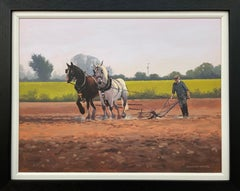 Horses with Farmer & Plough in Ireland Countryside by Contemporary Irish Artist