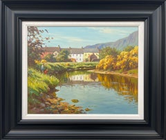 Fly Fishing River Scene in Coastal Village Ireland by Contemporary Irish Artist