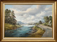 Original Post-War Oil Painting of Road by the Lough in Ireland by Irish Artist