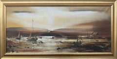 Golden Brown Ireland Seascape Landscape at Dusk by Contemporary Irish Artist
