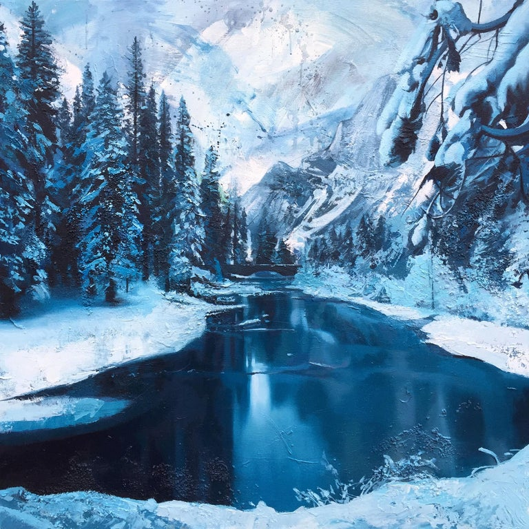 Andrew Newton Ice River Canada Winter Painting By