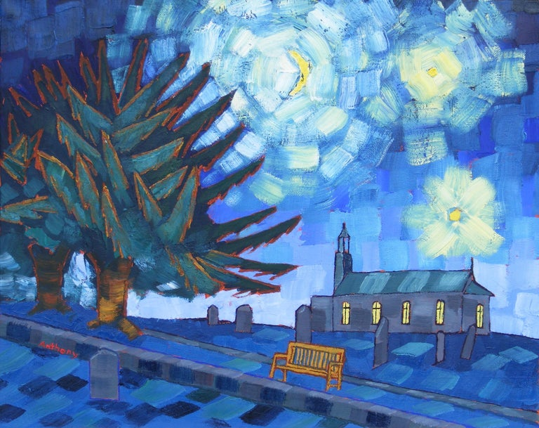 Anthony D Padgett Landscape Painting - Starry Night after Vincent Van Gogh Saint Remy 1889 by Emerging British Artist