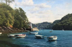 Oil Painting of Boats on River Yealm Devon England by British Landscape Artist