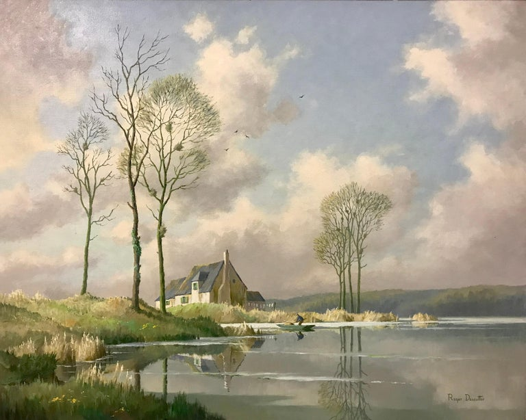 River Landscape Painting of Springtime in Picardy France with Boat and Clouds 1