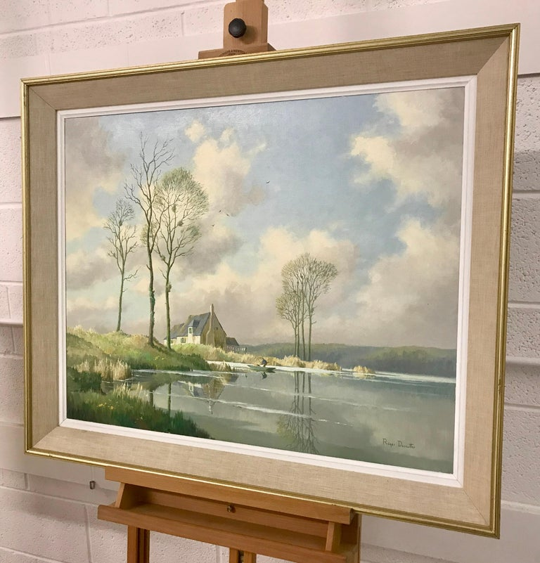 River Landscape Painting of Springtime in Picardy France with Boat and Clouds 4