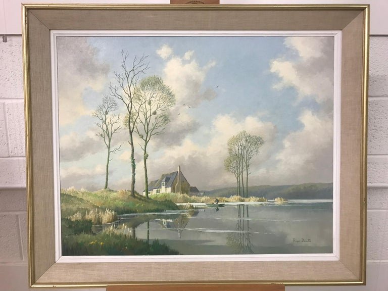 River Landscape Painting of Springtime in Picardy France with Boat and Clouds 2