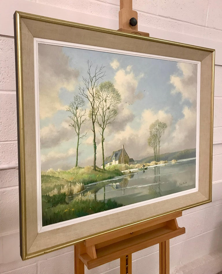 River Landscape Painting of Springtime in Picardy France with Boat and Clouds 3