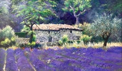 Impressionist Lavender Field Landscape Painting with Farm Flowers Trees France