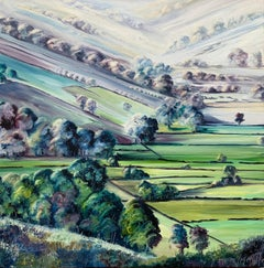 Abstract Landscape Oil Painting of the Yorkshire Dales Fields by British Artist