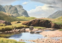 Large Oil Painting of River Mountain Landscape Lake District by British Artist
