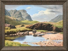 Large Realist River Mountain Landscape Oil Painting in English Lake District UK