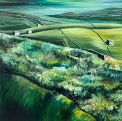 Yorkshire Dales Green Fields Abstract Landscape Oil Painting by British Artist