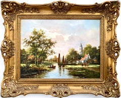 Classical Traditional 20th Century River Landscape Oil Painting by Dutch Painter