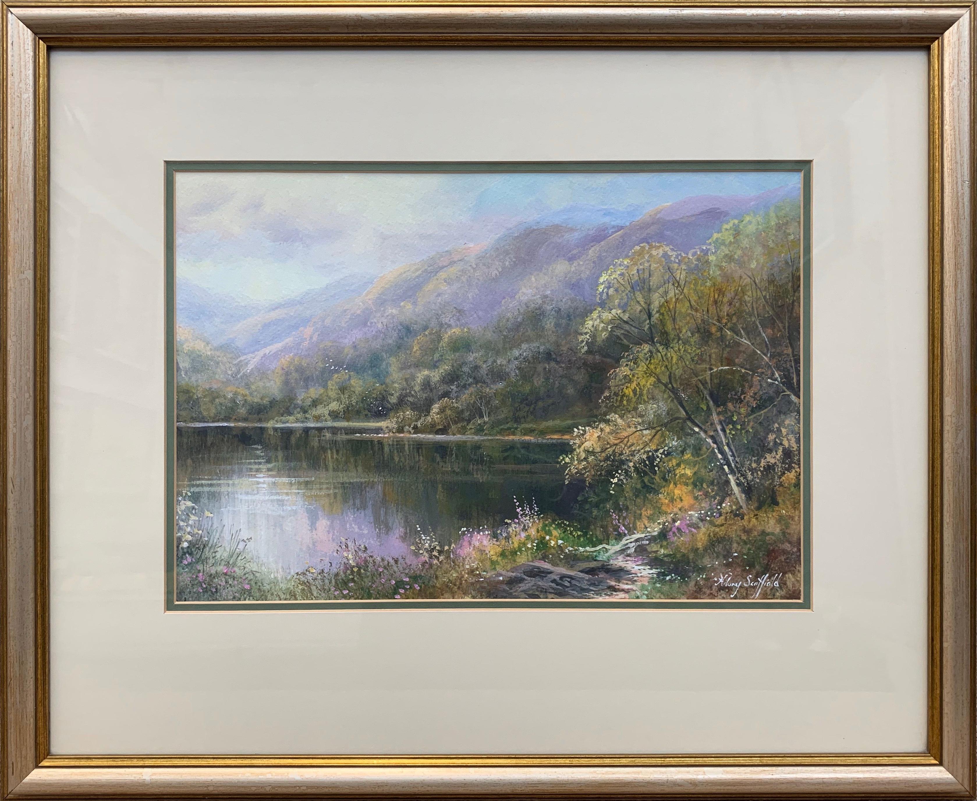 Irish Mountain Lake Landscape Countryside Scene Watercolour by British Artist