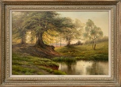 English River Sunset Landscape Oil Painting with Trees, Birds, Fields & Sheep