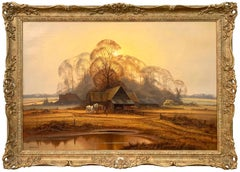 Traditional English Farm with Horses, Fields, Trees & Lake by British Artist