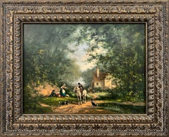 British Oil Painting Figures in Landscape with Man on Horse Two Dogs & a Cottage