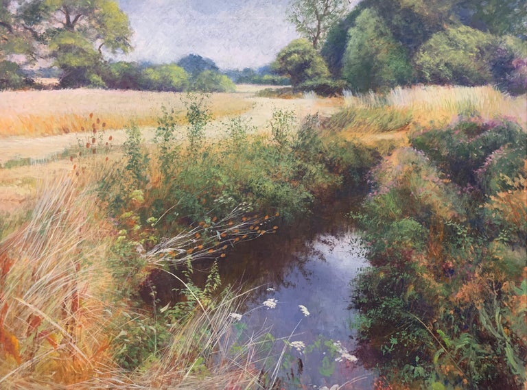 English High Summer Riverbank Landscape Original Oil Painting by British Artist For Sale 2