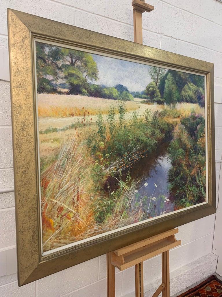 English High Summer Riverbank Landscape Original Oil Painting by British Artist - Brown Landscape Art by Graham Painter