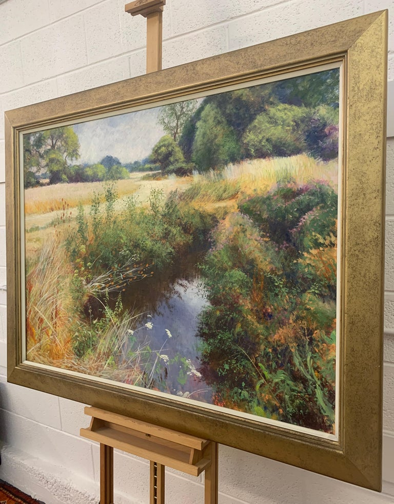 English High Summer Riverbank Landscape Original Oil Painting by British Artist For Sale 1