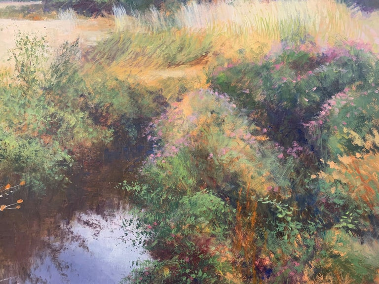 English High Summer Riverbank Landscape Original Oil Painting by British Artist For Sale 5
