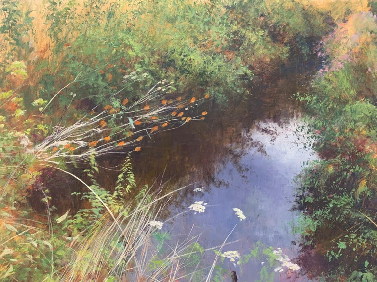 English High Summer Riverbank Landscape Original Oil Painting by British Artist For Sale 3