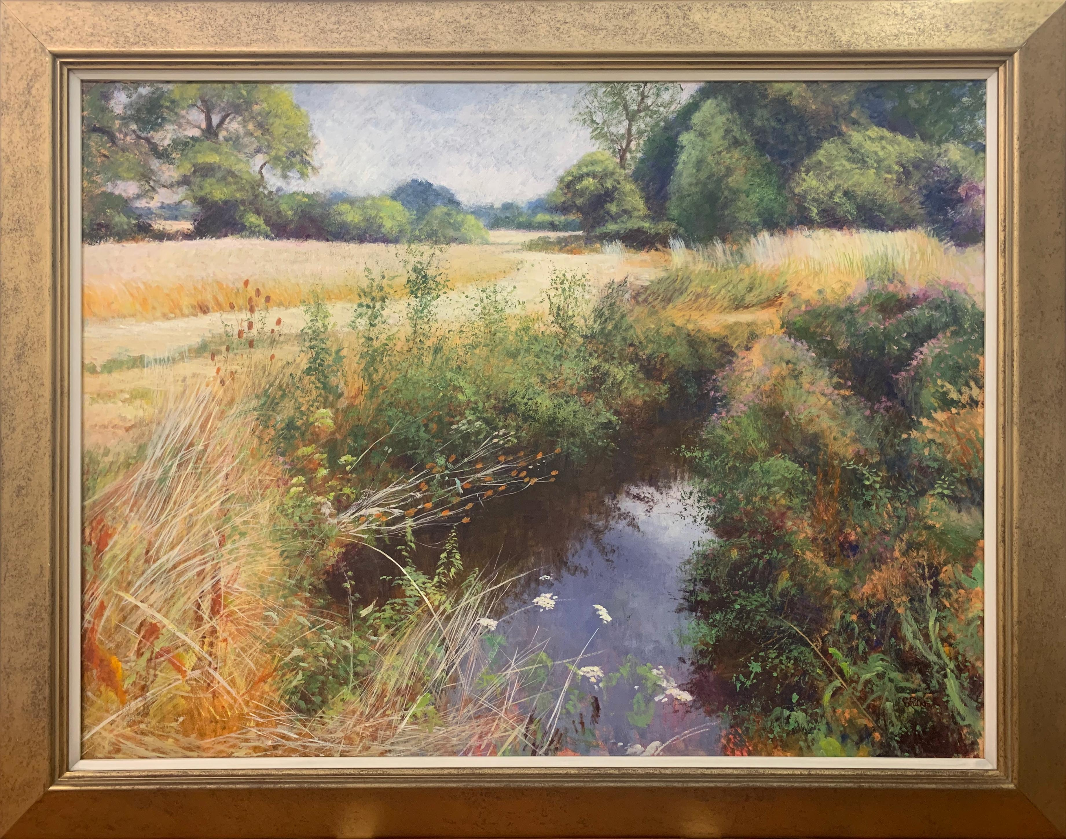 English High Summer Riverbank Landscape Original Oil Painting by British Artist