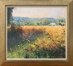 English Summer Norfolk Rural Landscape Original Oil Painting by British Artist