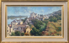 The Loire Montsoreau France Landscape Pastel Art by 20th Century British Artist