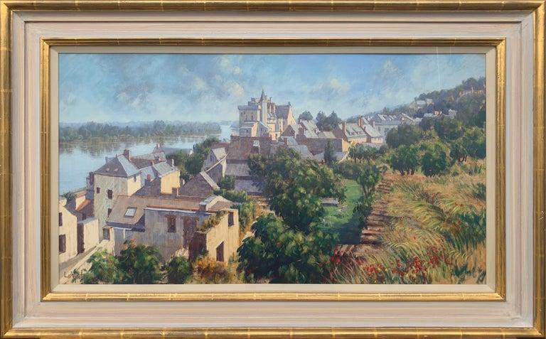 Lionel Aggett Landscape Art - The Loire Montsoreau France Landscape Pastel Art by 20th Century British Artist