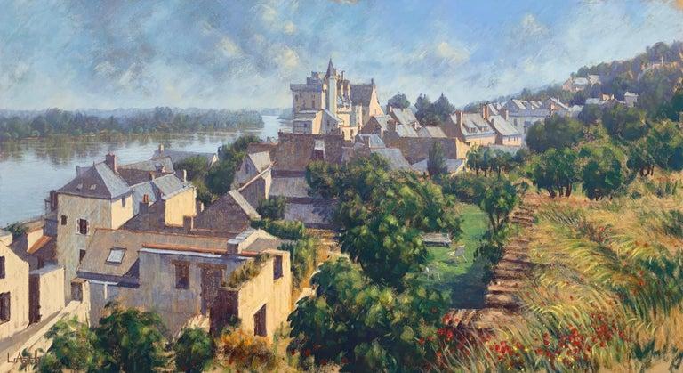 The Loire Montsoreau France Landscape Pastel Art by 20th Century British Artist - Gray Landscape Art by Lionel Aggett