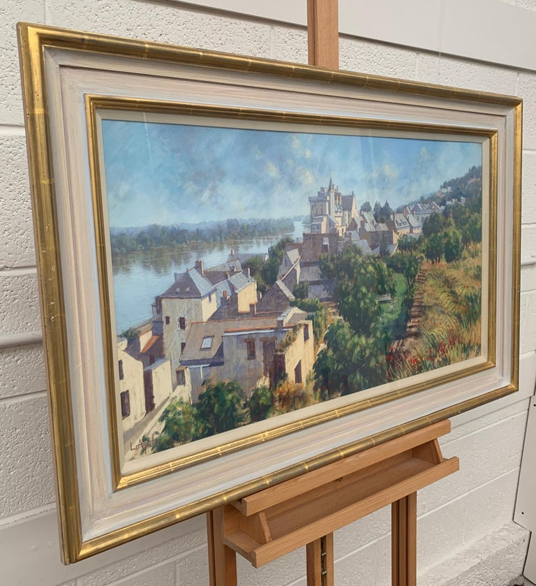 The Loire Valley Montsoreau France Landscape Pastel Art by British 20th Century Artist Lionel Aggett (1938-2009). Signed front and rear, framed behind glass in a high quality gold and cream shabby chic moulding.   Art measures 32 x 16 inches Frame