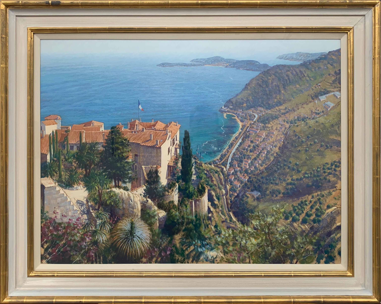 Eze Cote d'Azur French Riviera Landscape Pastel Art 20th Century British Artist
