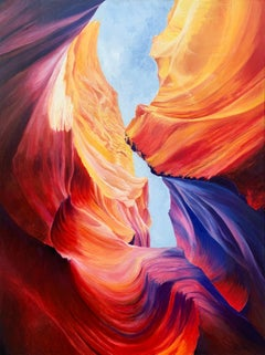 Red Blue & Purple Modern Abstract Painting of Inside Antelope Canyon in Arizona