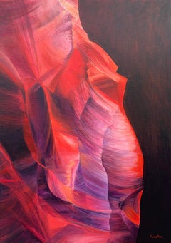 Red & Purple Modern Abstract Painting Inside Anatomy of Antelope Canyons Arizona