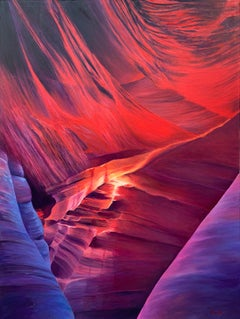 Red & Purple Modern Abstract Oil Painting of Inside Antelope Canyon in Arizona
