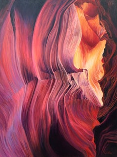 Red Orange & Purple Modern Abstract Painting of Inside Antelope Canyon Arizona