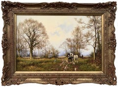 Traditional Oil Painting of English Countryside with Horses by British Artist