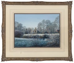 Winter Landscape Watercolour with Trees, River & Church by Modern British Artist