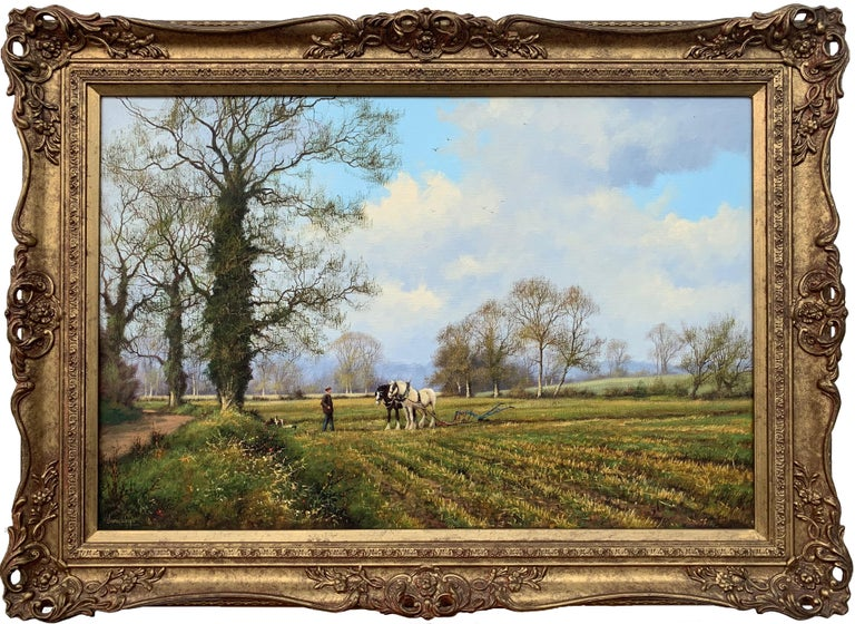 James Wright Animal Painting - Oil Painting of the English Countryside with Horses by Modern British Artist