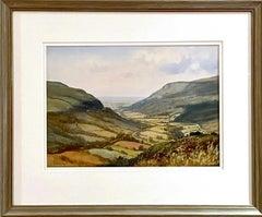 Watercolour of Ireland Valley Countryside by 20th Century Irish Artist